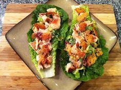 """Chicken Caesar Lettuce Wraps - With Garlic Parmesan """"Croutons"""" INGREDIENTS   1 Head Romaine Lettuce  1 lb. Boneless Skinless Chicken Breast  4 Strips Bacon  1 Cup Parmesan Cheese - shredded  4 Tbs. Caesar Dressing (I use Ken's Steakhouse Creamy Caesar.  1 carb/ 2 Tbs. Garlicky and delicious)  1 Tbs. Garlic Powder  1 Tbs. Italian Seasoning  Olive Oil"""