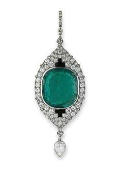 Cartier Emerald & Diamond Art Deco India Inspired Pendant