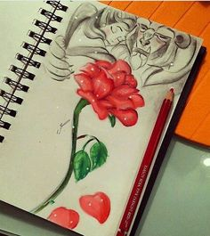 Disney Drawing Beauty and the Beast rose art in a notebook - This is beautiful! Disney Drawings, Cool Drawings, Drawing Sketches, Drawing Ideas, Sketching, Art Disney, Disney Love, Disney Canvas, Disney Beauty And The Beast