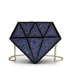 Cute Purses, Purses And Bags, Fashion Handbags, Fashion Bags, Diamond Party, Mini Messenger Bag, Diamond Glitter, Chain Shoulder Bag, Shoulder Bags