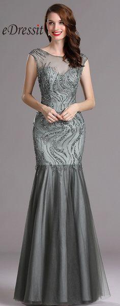 Carlyna Grey Sweetheart Beaded Evening Dress