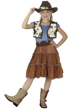 Girls Book Carnival Cowgirl Cutie Cow Texture Fancy Dress Outfit Costume
