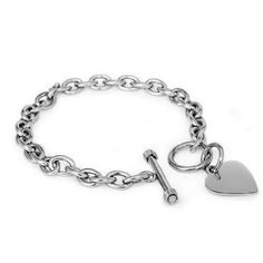 """Amazon.com: Designer Inspired Stainless Steel Heart Toggle Tag Bracelet Engravable 7.25""""L: Jewelry"""