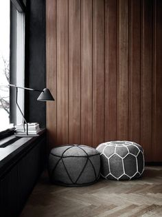Puf from BoConcept New Furniture, Furniture Design, Interior Architecture, Interior And Exterior, Living Spaces, Living Room, Boconcept, Wooden Walls, Wooden Panelling