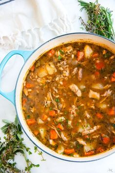 Chicken and Barley Stew recipe - Warming, filling and healthy stew made from scratch with chicken thighs, fresh veggies and herbs.