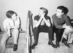 Bernard Sumner, Peter Hook and Ian Curtis. Joy Division in Paris, France, 18 Dec 1979