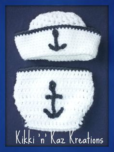 Crocheted  Nautical baby Diaper Cover and by KikkinKazKreations, $30.00