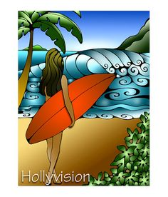 Girl Surfing waves Hawaii Surf Art by HollyvisionArt