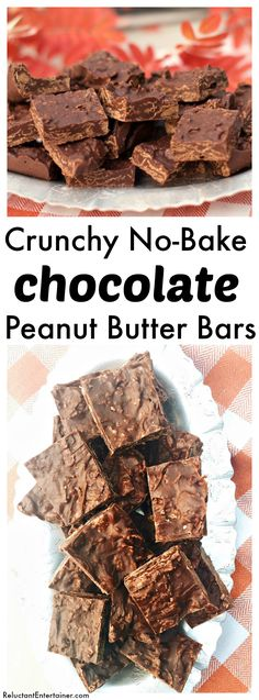 Crunchy No-Bake Chocolate Peanut Butter Bars at ReluctantEntertainer.com