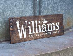 Name Established Sign Wedding Gift Sign Personalized Wood