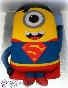 Superman Minion Cake...... Minion Theme, Minion Birthday, Minion Party, Boy Birthday, Birthday Cakes, Minion Cookies, Cupcake Cookies, Birthday Event Ideas, Birthday Parties