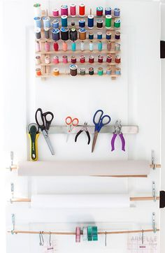 Armelle Blog: my studio closet - Craft room organization with National rope hooks and S hooks