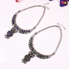 Chic Alloy Exaggeration Owl Shape Pendant Inlaid Drill Women Ladies Jewelry Necklace