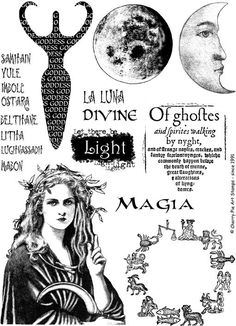 MOON GODDESS, Wiccan set of rubber stamps by Cherry Pie. $24.00, via Etsy.