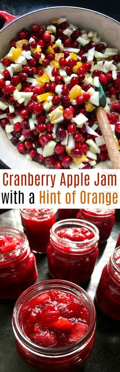 Cranberry Apple Jam canning recipe with a Hint of Orange - One Hundred Dollars a Month Jelly Recipes, Jam Recipes, Canning Recipes, Canning 101, Cranberry Recipes For Canning, Cooker Recipes, Sauce Recipes, Drink Recipes, Apple Jam