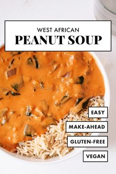 West African Peanut Soup is so CREAMY and DELICIOUS! This hearty and spicy plant-based soup will warm you right up. Bonus: It's vegan and gluten free! #peanutsoup #cookieandkate #soup #mealprep #winter 9 Bean Soup Recipe, Vegan Dinner Recipes, Vegetarian Dinners, Fish Recipes, Soup Recipes, Soup And Salad, Vegan Main Dishes, Vegan Soup, African