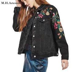 M.H.Artemis Black Flower embroidery denim jacket coat women Chic Streetwear Casual Style Harajuku autumn winter Casual Jean coat #Affiliate
