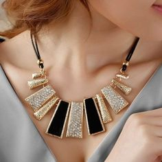 Beautiful necklace Black gold and silver necklace with clasp closure Jewelry Necklaces