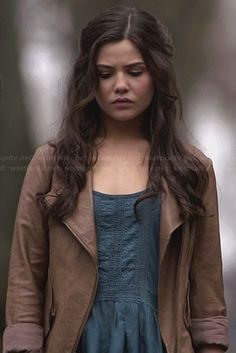 Davina's blue lace trim top and tan leather jacket on The Originals.  Outfit Details: http://wornontv.net/31809/ #TheOriginals