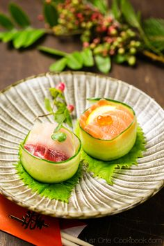 Cucumber Wrapped Sushi | Sushi Recipe |  I like the plate presentation as a starter course. Simple fresh and clean looking.