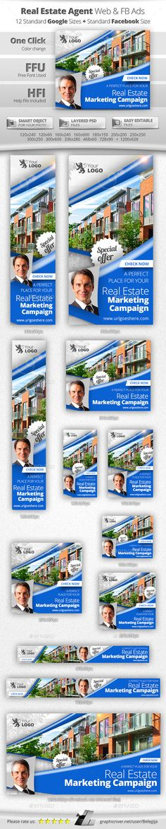 Real Estate Agent Web & Facebook Banners Ads - Banners & Ads Web Elements