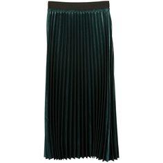 Metallic Pleated Skirt (3.120 RUB) ❤ liked on Polyvore featuring skirts, dark green, dark green skirt, mango skirts, elastic waistband skirt, pleated skirt and panel skirt