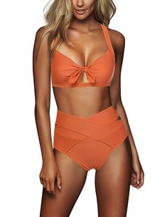 b29a79e0f047a FeelinGirl Women's Sexy Criss Cross High Waist Bandage 2PCS Bikini Set  Swimsuit Cute Bathing Suits,