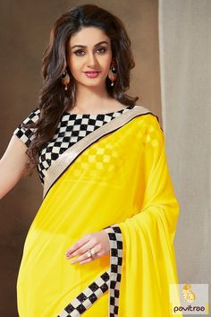 Product Code 34557 - Embroidered Yellow Pure Georgette Awesome Designer Saree with blouse fabric Kerala Bride, South Indian Bride, Sarees Online India, Party Sarees, Beautiful Girl Indian, Latest Sarees, Half Saree, Georgette Sarees, Saree Styles