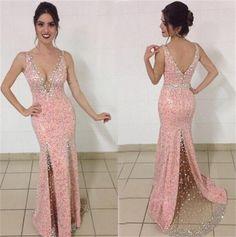 Beading Straps Satin Prom Dresses 2017