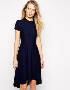 Closet High Neck Textured Skater Dress With Dipped Hem Business Casual Code Blue Dresses