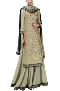 Priyanka Jain Label presents Olive green embroidered kurta and skirt set available only at Pernia's Pop Up Shop. Ethnic Fashion, Colorful Fashion, Indian Fashion, Lehenga Choli Online, Bridal Lehenga Choli, Choli Dress, Fashion Designer, Indian Designer Wear, Amritsar