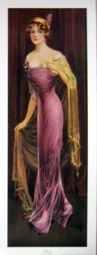 Victorian tall lady woman in purple dress