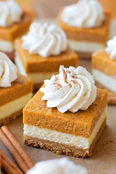 The BEST Pumpkin Cheesecake Bars A Fall Favorite These Pumpkin Cheesecake Bars have so many delicious layers including a graham cracker crust cheesecake layer and pumpkin layer topped with whipped cream. Pumpkin Cheesecake Bars, Cheesecake Squares, Simple Cheesecake, Pumpkin Bars, Thanksgiving Desserts, Fall Desserts, Pumpkin Dessert, Savoury Cake, Cheesecakes