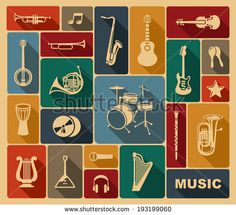 Silhouettes of musical instruments by Abdurahman, via Shutterstock