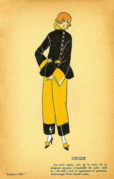 Date: ca. 1920    Description: Pajamas in gold and black satin.