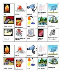 In this activity students will cut out pictures (provided) and sort them into categories of heat sources. The categories are electricity, friction, sun, earth's interior and chemical reaction. Third Grade Science, Elementary Science, Teaching Science, Energy Pictures, Cut Out Pictures, Sorting Activities, Hands On Activities, Types Of Mixtures, Science Room