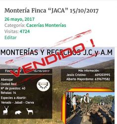 """No hay Billetes !!!        Monterías y Recechos J.C y A.M cuelgan el cartel de """"NO HAY BILLETES"""" para su próxima Montería del domingo 15/10/17 en la Finca """"JACA"""". Desdeanunciocaza.comos damos una vez más la enhorabuena por el trabajo realizado y os deseamos toda la suerte para el evento. Muchas gracias Jesús Cristino...     http://www.anunciocaza.com/no-hay-billetes/"""