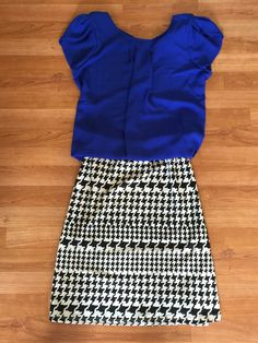 Papermoon Bastille tulip sleeve blouse and market and spruce jay houndstooth print swing skirt from stitch fix
