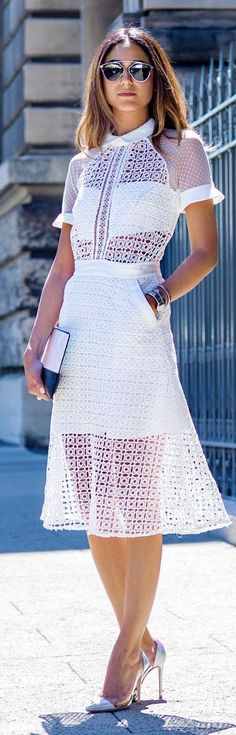 White Fit And Flare Eyelet Sheer Crocheted Lace Midi Dress                                                                             Source
