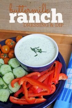 Buttermilk Ranch Dressing & Dip Recipe: You'll never use a bottle or mix packet again! Dip Recipes, Easy Dinner Recipes, Appetizer Recipes, Real Food Recipes, Snack Recipes, Cooking Recipes, Appetizers, Yummy Recipes, Salad Recipes