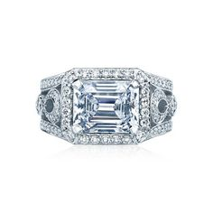 Sideways Or Horizontal Mounted Emerald Cut Diamond Engagement Ring...I Like This, But It Freaks Me Out A Little!! Hahaaa!