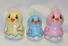 Set of 3 Painted Gourd Easter Chickens  Gourd by FromGramsHouse