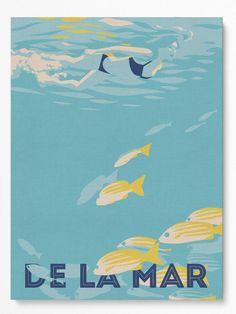 Sun Rays, Retro, Travel Posters, Overlays, Shadows, Royal Blue, Paradise, Ocean, Fish