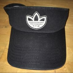 Adidas visor hat Black with white logo, worn once, Velcro adjustment, clean Adidas Accessories Hats