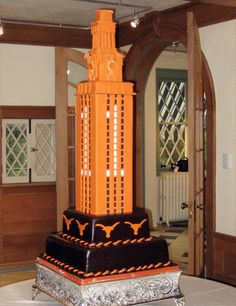 A UT tower wedding cake!  I always love these.  This one is extra-nice with Bevos all 'round.