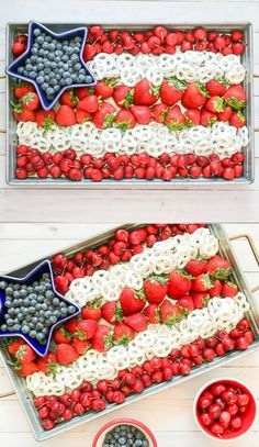 This cute American flag fruit tray is the perfect easy 4th of July snack! Made with fresh red, white, and blue fruits (strawberries, blueberries, and cherries) and yogurt-covered pretzels, it's also a great Memorial Day, Labor Day, and Veterans Day appetizer, too! Click through for the patriotic fruit tray recipe from southern blogger Stephanie Ziajka from Diary of a Debutante #snacks #4thofjuly #independenceday #patriotic #recipe #appetizers
