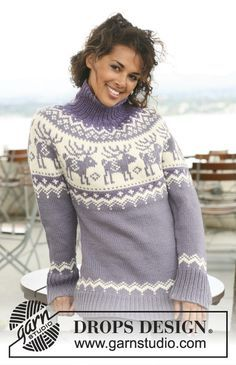 Knitted DROPS jumper with raglan sleeves and reindeer pattern on yoke in Nepal. Size S - XXXL. Free pattern by DROPS Design.