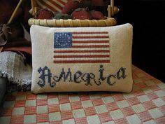 Primitive Cross Stitch Pattern AMERICA by threadworkprimitives, $9.00