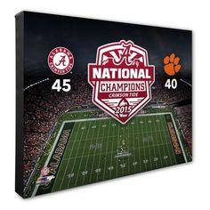 "Alabama Crimson Tide 16"" x 20"" College Football Playoff 2015 National Champions Stadium Stretched Canvas - $79.99"