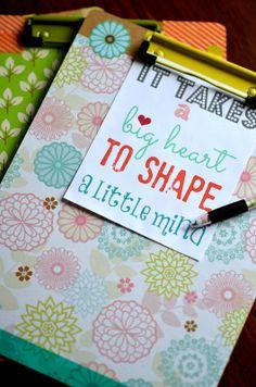 Teacher Appreciation gift ( clipboard with matching pen) @placeofmytaste.com |